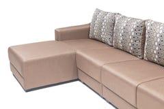 Wygodny luksusowy kanapa set robić wysoka ilość Lenin i skóra w beżowym kolorze Zdjęcia Royalty Free