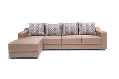 Wygodny luksusowy kanapa set robić wysoka ilość Lenin i skóra w beżowym kolorze Obraz Stock