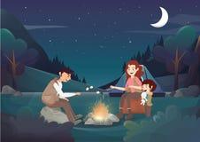 Wygodny rodzinny camping w nocy ilustraci royalty ilustracja