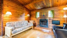 Wygodny wnętrze nieociosana beli kabina Fotografia Royalty Free