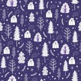 Wygodnych bożych narodzeń bezszwowy wzór robić zima płatki śniegu i drzewa Zdjęcie Royalty Free