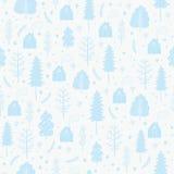 Wygodnych bożych narodzeń bezszwowy wzór robić zima płatki śniegu i drzewa Zdjęcia Stock