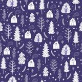 Wygodnych bożych narodzeń bezszwowy wzór robić zima płatki śniegu i drzewa Fotografia Royalty Free