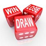Wygrana Gubi remisów słowa Trzy 3 kostka do gry rywalizaci Czerwona gra Zdjęcia Stock