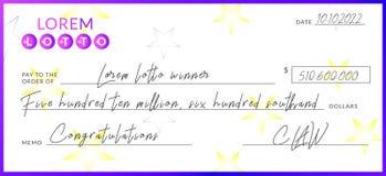 Wygrany loteryjny czek ilustracja wektor