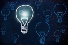 Wygrany pomysł, kredowy projekt z lightbulbs Zdjęcia Royalty Free