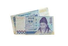 1000 Wygrywał Korea pieniądze Zdjęcie Stock