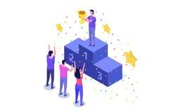 Wygrywa, Isometric zwycięzcy biznes, sukces i osiągnięcia pojęcie, ilustracja wektor