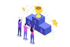 Wygrywa, Isometric zwycięzcy biznes, sukces i osiągnięcia pojęcie, ilustracji