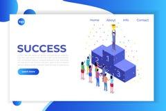 Wygrywa, Isometric zwycięzcy biznes, sukces i osiągnięcia pojęcie, royalty ilustracja