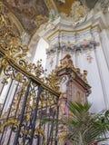 Wyjątkowo piękny wnętrze Barokowy kościół St Paulinus w odważniaku - stary miasto Niemcy, szczegół fotografia royalty free