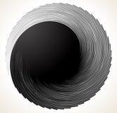 Wyjątkowo szpotawy zawijas, twirl kształt monochrom spirali projekt e royalty ilustracja