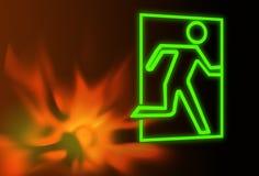 wyjścia ewakuacyjnego pożarniczy płomieni symbol Zdjęcia Royalty Free