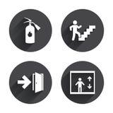 Wyjście ewakuacyjne ikony Drzwi z strzała znakiem Zdjęcia Stock