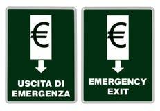 Wyjście ewakuacyjne od euro, Eurozone aka strefa euro Zdjęcia Stock