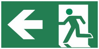 Wyjście ewakuacyjne szyldowa lewica - emergeny wyjście wektoru ilustracja ilustracji