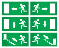 Wyjście ewakuacyjne znaki ustawiający Fotografia Stock