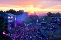 Wyjście festiwal 2015 w wschodzie słońca - Tanczy arenę fotografia stock