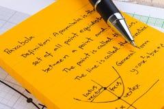 Wykład notatki w Mathematics Fotografia Royalty Free