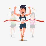 Wykończeniowy biegacza charakteru projekt z inny behind Wygrywać Cha Obraz Royalty Free