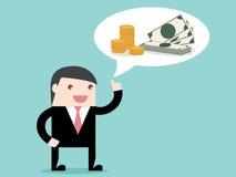 Wykonawczy biznesmen myśleć o pieniądze Obraz Royalty Free