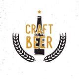 Wykonuje ręcznie piwo 60s lub 70s logotyp, rocznika styl ilustracji