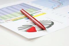 Wykresów dokumenty stoły i Fotografia Stock