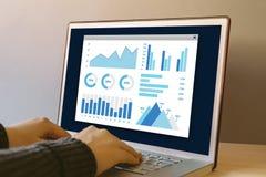 Wykresów i map elementy na laptopu ekranie Zdjęcia Royalty Free