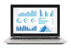 Wykresów i map elementy na laptopu ekranie Zdjęcie Royalty Free