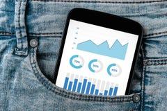 Wykresów i map elementy na smartphone ekranie w cajgach wkładać do kieszeni Obraz Stock
