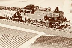 wykresów lokomotywy model retro Zdjęcia Stock