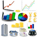 wykresów zestawu statystyki narzędzie Obrazy Stock