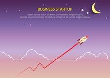 Wykres linia z rakieta stylem w płaskim projekcie Obrazy Stock