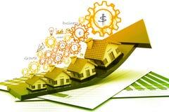 Wykres rynek budownictwa mieszkaniowego Fotografia Royalty Free