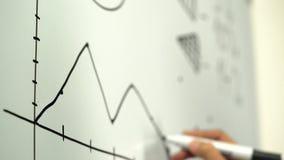 Wykres rysujący na whiteboard biznesmenem zbiory