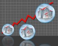 Wykres w czerwieni i domach ilustracji