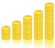 Wykres złociste monety Obraz Royalty Free