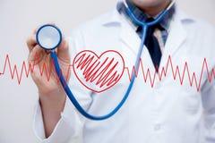 wykresu czerwony serce z sercem jest częścią kardiogram z stetoskopem Obraz Stock