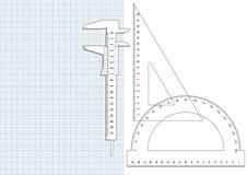 Wykresu papier i projektów narzędzia Obrazy Stock