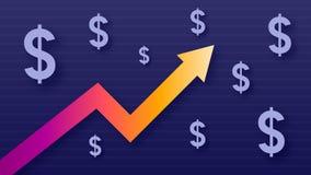 Wykresu przedstawienia wartości przyrost dolar, nowożytni modni kolory, gradientowi usd symboli/lów, strzałkowaci i purpurowi fotografia stock