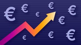 Wykresu przedstawienia wartości przyrost euro, nowożytni modni kolory, gradientowa strzała i purpurowi eur symbole, zdjęcie royalty free