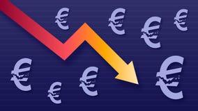 Wykresu przedstawienia wartości strata euro, nowożytni modni kolory, gradientowa strzała i purpurowi eur symbole, obrazy stock