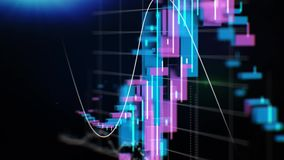 Wykresy, mapy i dane, Perfect lot przez Biznesowej sieci zapas Zapętlająca animacja Narastająca Biznesowa mapa z zdjęcie wideo