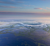 Wylew nizina rzeka, odgórny widok zdjęcia stock