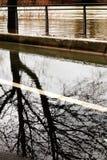 Wylew wontonu brzeg rzeki przyczyn Paryska szkoda zdjęcie royalty free
