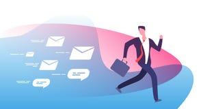 Wylotowi obfitość powiadomienia Przelękły ruchliwie biznesmen biega zdala od klient informacje zwrotne emaili Emaila mężczyzna po ilustracji