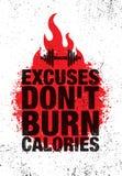 Wymówki Don ` t oparzenie kalorie Inspirować treningu i sprawności fizycznej Gym motywaci wycena ilustraci znaka Sporta wektor ilustracja wektor