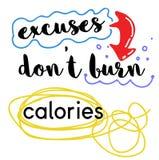 Wymówki no Palą kalorii wyceny znaka plakatowy ilustracja wektor