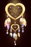 Wymarzona łapacz biżuteria z piórkami Fantastyczny magiczny Dreamcatcher serce kształtował piórka i cennych kamienie metalu i zło ilustracja wektor