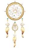 Wymarzona łapacz biżuteria z piórkami Fantastyczny magiczny Dreamcatcher serce kształtował piórka i cennych kamienie metalu i zło ilustracji